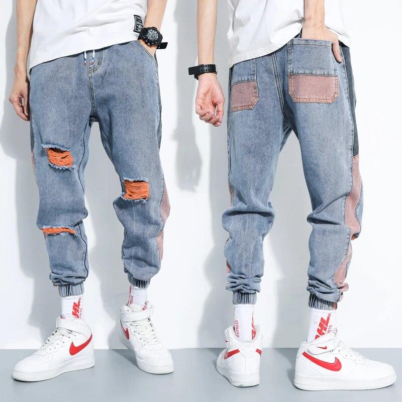 Pantalones Vaqueros De Moda De Venta Al Por Menor Para Hombre Pantalones Vaqueros Rotos De Color