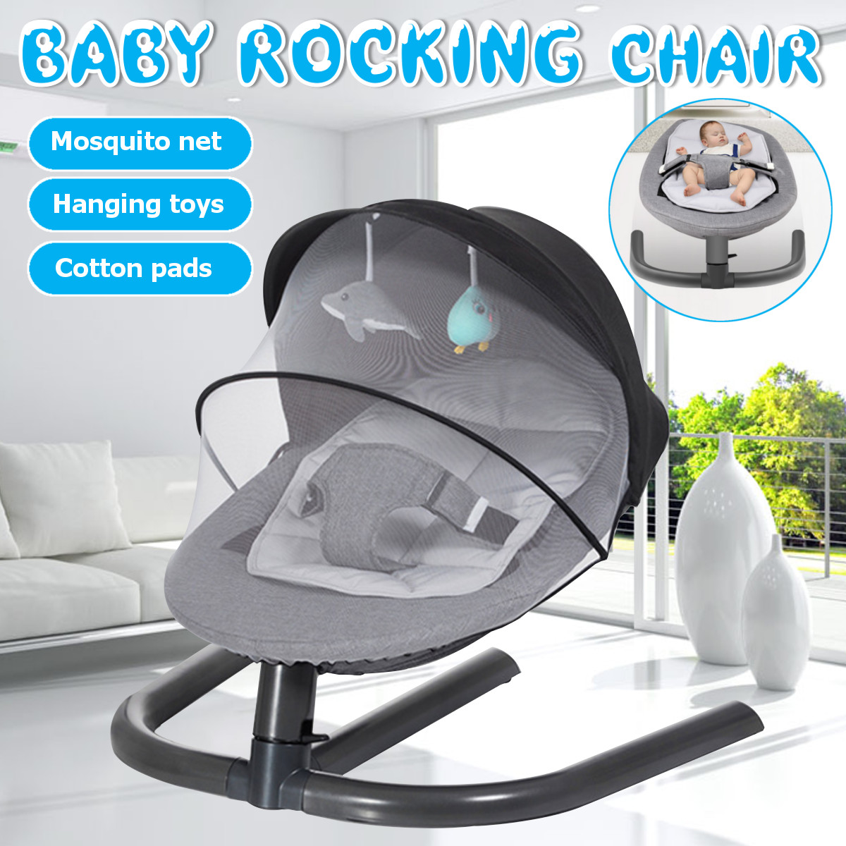 H583dd598376c49e184a8b86e9556c5f9o Newborn Electric Swing Multifunctional  Baby Bouncer Cradle Rocking Chair With Mosquito Net Cradle Crib Sleeping Safety Basket