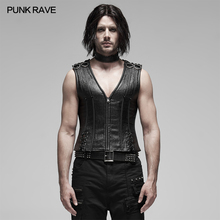 Sexy Men Corset Metal Shapewear Collar Stage-Performance PUNK Fabric RAVE Strip Adjust-Rope