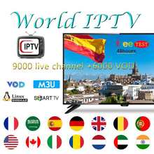 IPTV 9000 live channel +6000 VOD free test Rocksat for france uk spain poland support Smart TV iptv m3u tv box enigma2(China)
