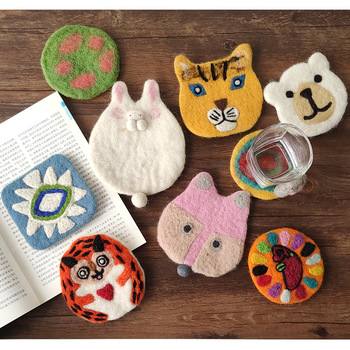 Felt Cup Coaster Cute Animal Coffee Mug Mat Table Placemat Heat Insulation Cartoon Dining Mat Home Decoration Kitchen Pot Pad placemat for dining table world map kitchen placemat coaster dining table mats cotton linen pad bowl cup mat 42 32cm home decor