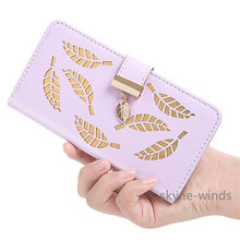 Flip Cover For iPhone 6 6S/6 Plus/6S Plus/7 7 Plus/8 8 Plus Stand Wallet PU Leather Case With Card Slots Hollow Out Gold Leaves(China)