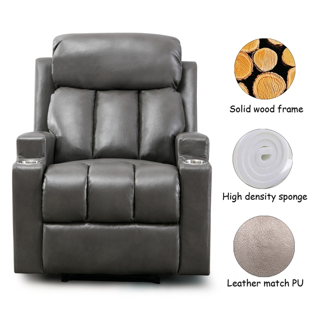 Leather Recliner Chair with 2 Cup Holders for Contemporary Theater Seating 5