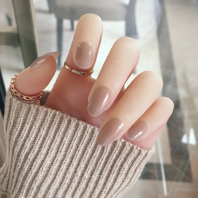 Nude INS Nail Stickers Finished Product Fake Nails Patch Wearable Online Celebrity A- Repeat For Long-lasting Adhesive Nail Tip