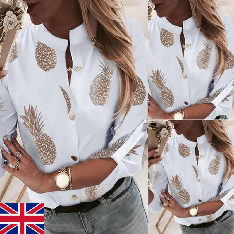 Fashion Women Long Sleeve Gold Pineapple Print Blouse V Neck Shirt Office Ladies Party Elegant Streetwear femininas Plus Size 2