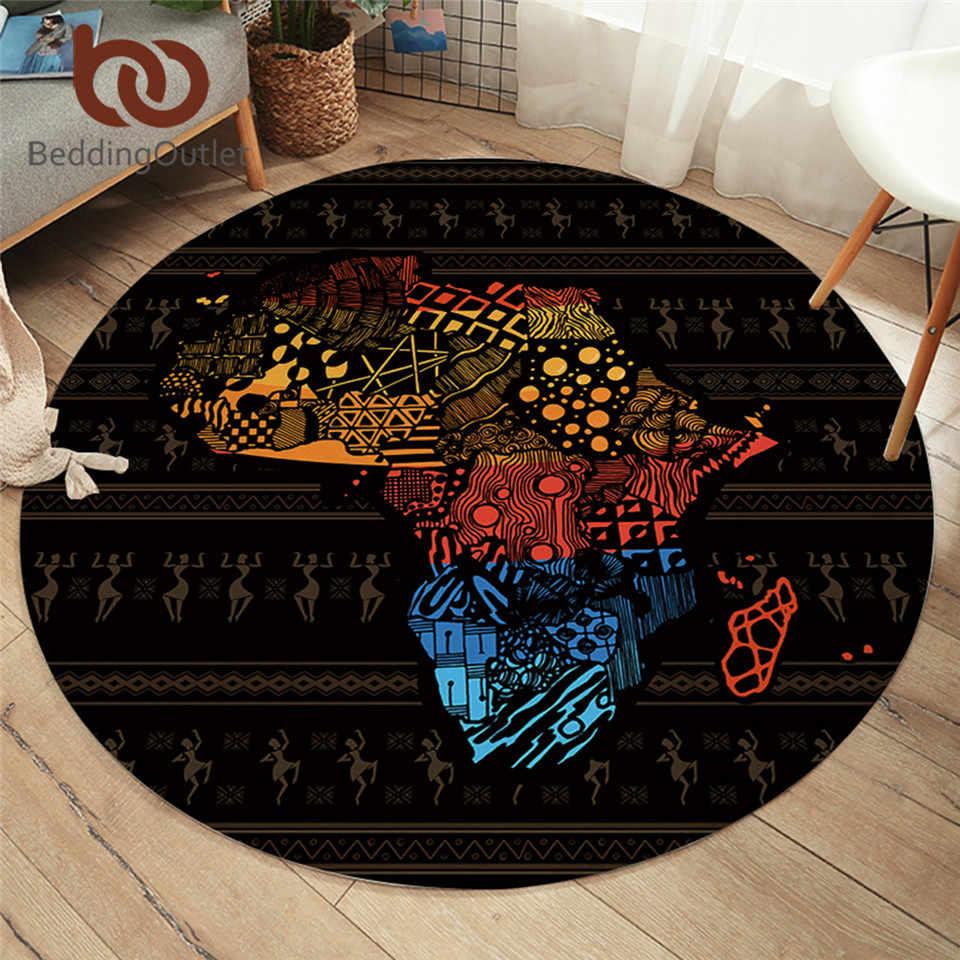 Round Carpet Geometric Floor Mat Non