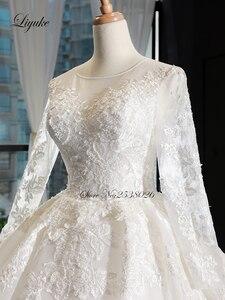 Image 3 - Liyuke scoped decote bola vestido de casamento com capela elegante trem vestido de casamento manga cheia