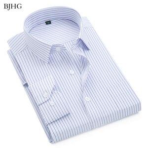 Мужская деловая рубашка в клетку BJHG, Повседневная деловая рубашка в полоску с длинным рукавом, 2019