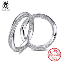 ORSA JEWELS 925 Sterling Silver Ring Möbius Band Size 6 7 8 9 10 for Man Woman 2021 Couple Jewelry Wedding Engagement Ring SR253