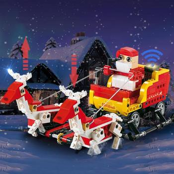 Christmas 3D Building Blocks Bricks Santa Claus Sled Car Children Kid Wooden Toy Creatively Combine to Exercise Thinking Ability