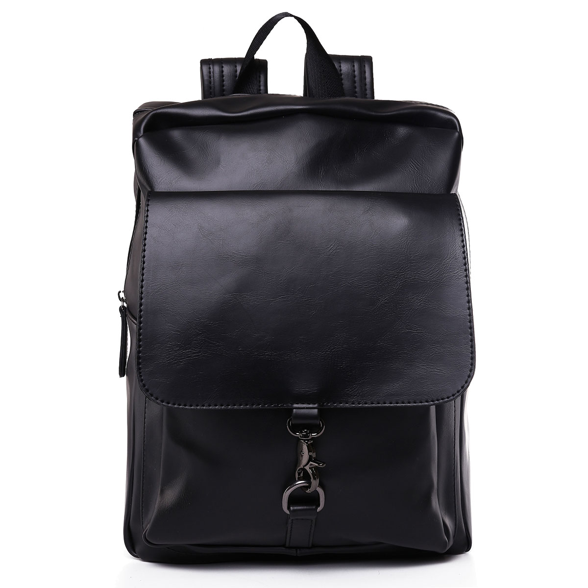 Fashion Men Women PU Leather Backpack School Bag Casual Travel Bookbag Black Youth Top Handle Backpack Back For School Mochila