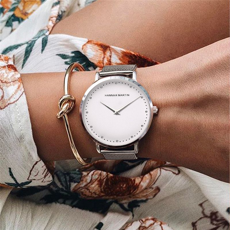 Hanna Martin Top Brand Ladies Watches Fashion Luxury Silver Watch Women Ultra Thin Wrist Dress Watch Female Clock Reloj Mujer