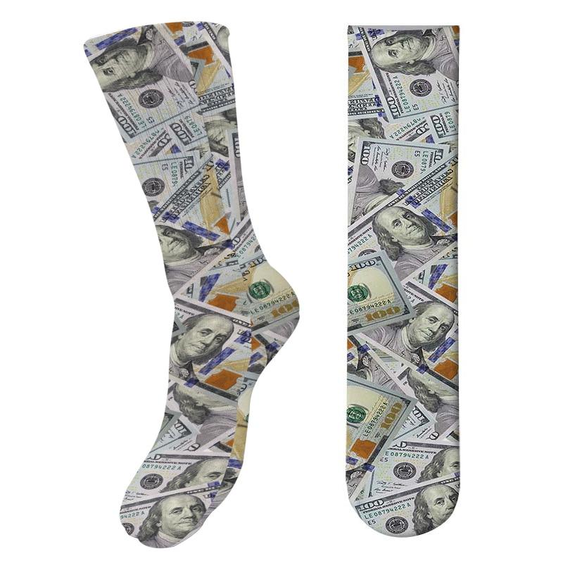 Носки женские и мужские длинные хлопковые до колена, с забавным 3D-принтом доллара, Модные индивидуальные, унисекс
