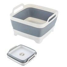 Bacia de lavagem dobrável silicone prato banheira dobrável com dreno plug carry alças pia escorredor para acampar