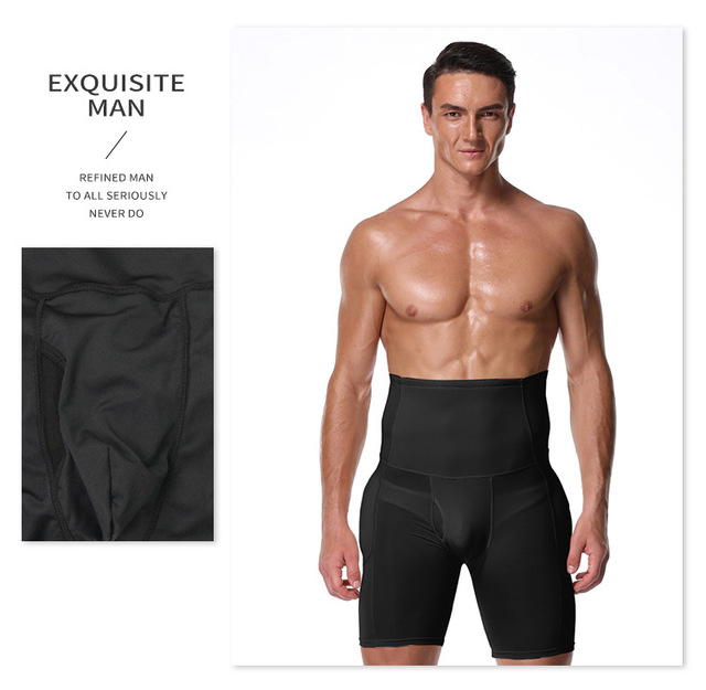 Men Slimming Panty High Waist Tummy Control Butt Lifter Butt Enhancer Boxer Shorts with A Hole In The Front Mens Waist Trimmer 4