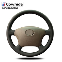 Manevra siyah hakiki deri direksiyon kapakları Toyota Land Cruiser Prado 120 için