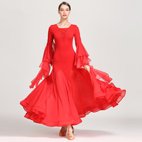 Women ballroom dance wear ball dancing dress modern skirt girl's waltz tango galop dress fairy uniforms full skirted dress 1866