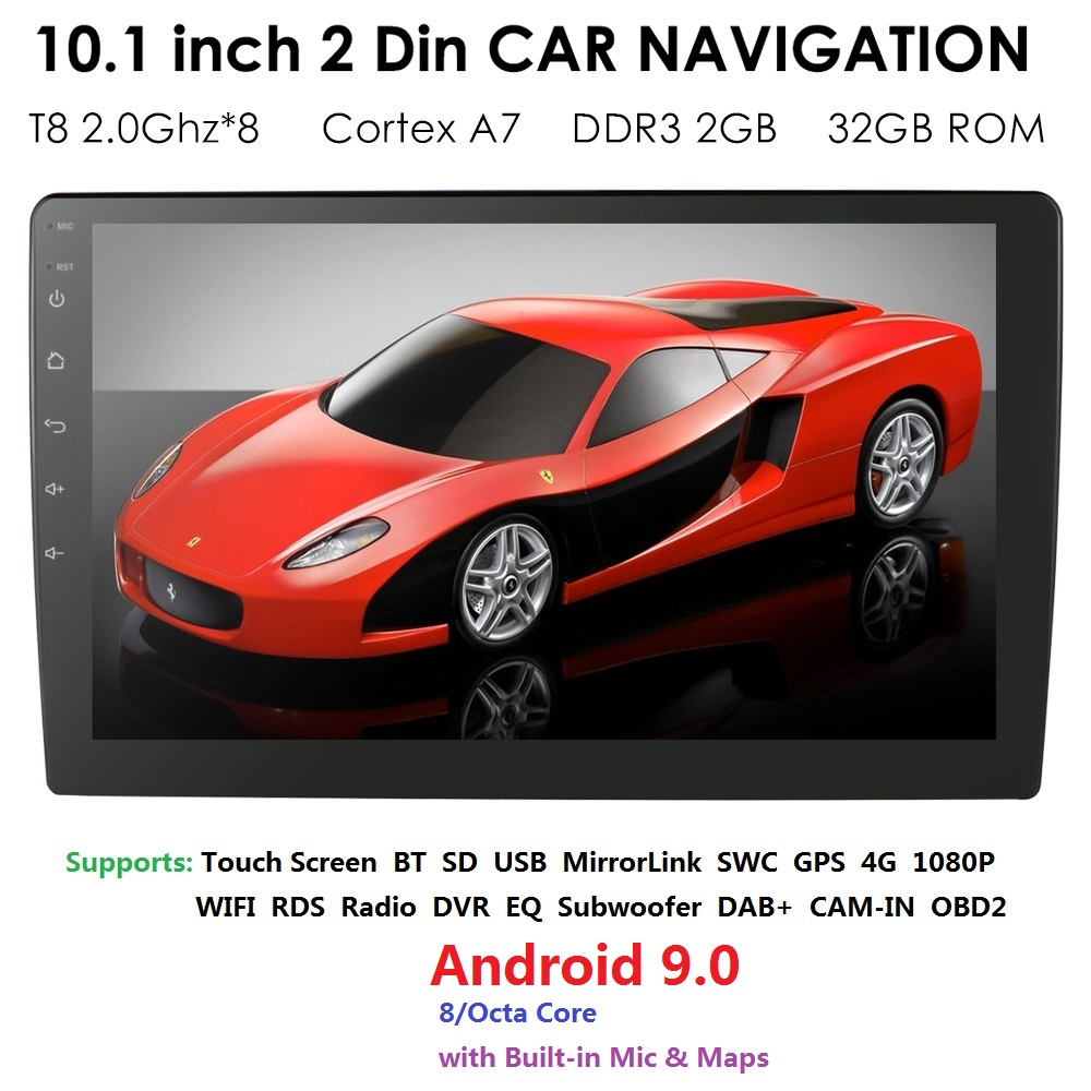 QuadCore <font><b>1Din</b></font> Android9.0 Car NO <font><b>DVD</b></font> Radio Multimedia Player 1024*600 Universal GPS Navigation <font><b>autoradio</b></font> Stereo Audio CAM 2G+32GB image