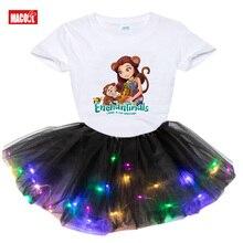 Girls Summer Tutu Dress Set Outfit Clothing 2pcs Toddler Baby Kids Light LED Party Dress Children Clothing princess costume girl