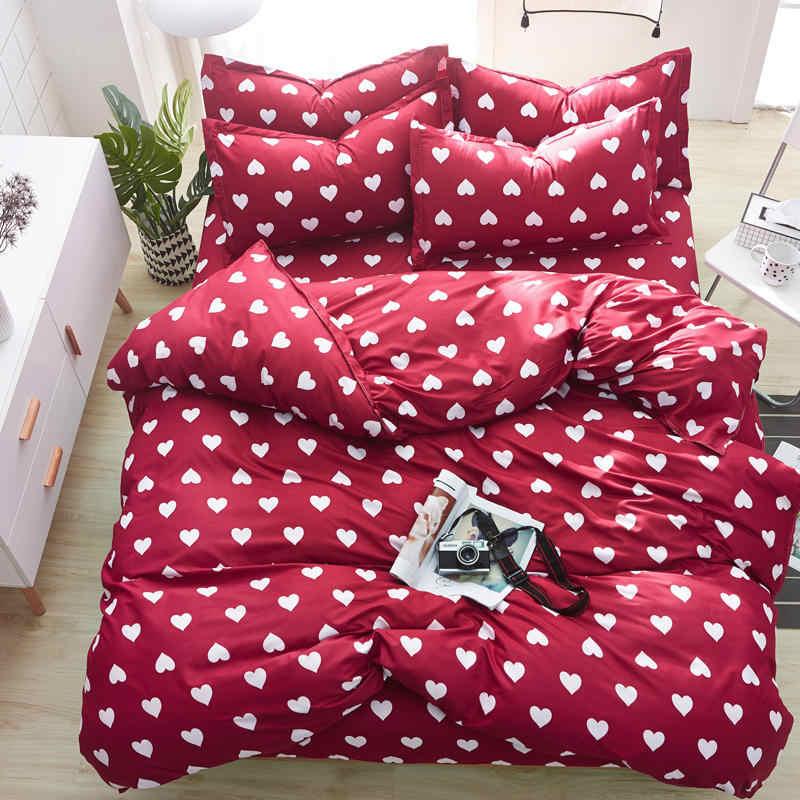 Red Heart Animal Duvet Cover set Sheet PillowCase Lovely Cat Cartoon Bedding Set Girls Kid Teen Woman Bed Linens Bedclothes
