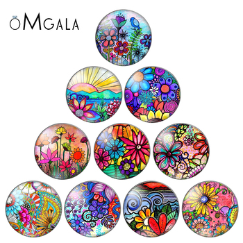 Art Colorful Oil Painting Flowers Pattern 10pcs 12mm/18mm/20mm/25mm Round photo glass cabochon demo flat back Making findings - discount item  10% OFF Jewelry Making