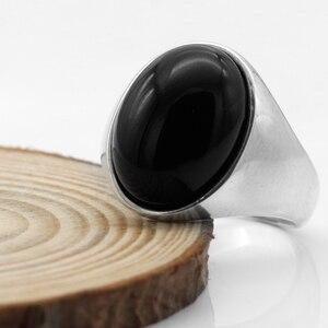 Image 3 - Мужское кольцо из серебра 925 пробы с черной планкой, мужское и женское кольцо, турецкие ювелирные изделия ручной работы