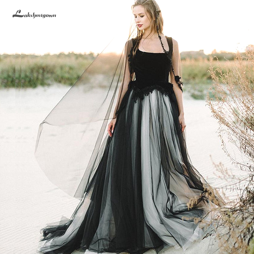 Sexy Black Wedding Dress A Line 2020 Robe Mariage Femme Bradal Wedding Gowns Sleeveless Lace Open Back