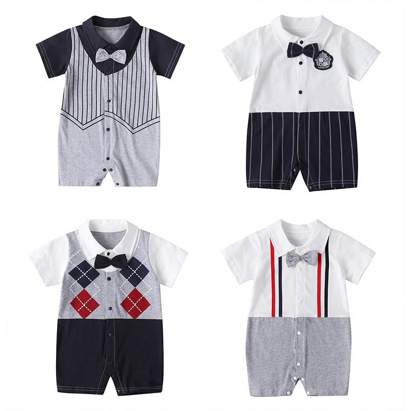 One Pieces Newborn baby Onesies Summer Bow Tie Gentleman  Bodysuit Short Sleeve Infant Boys Pajamas Outdoor Crawl Clothes