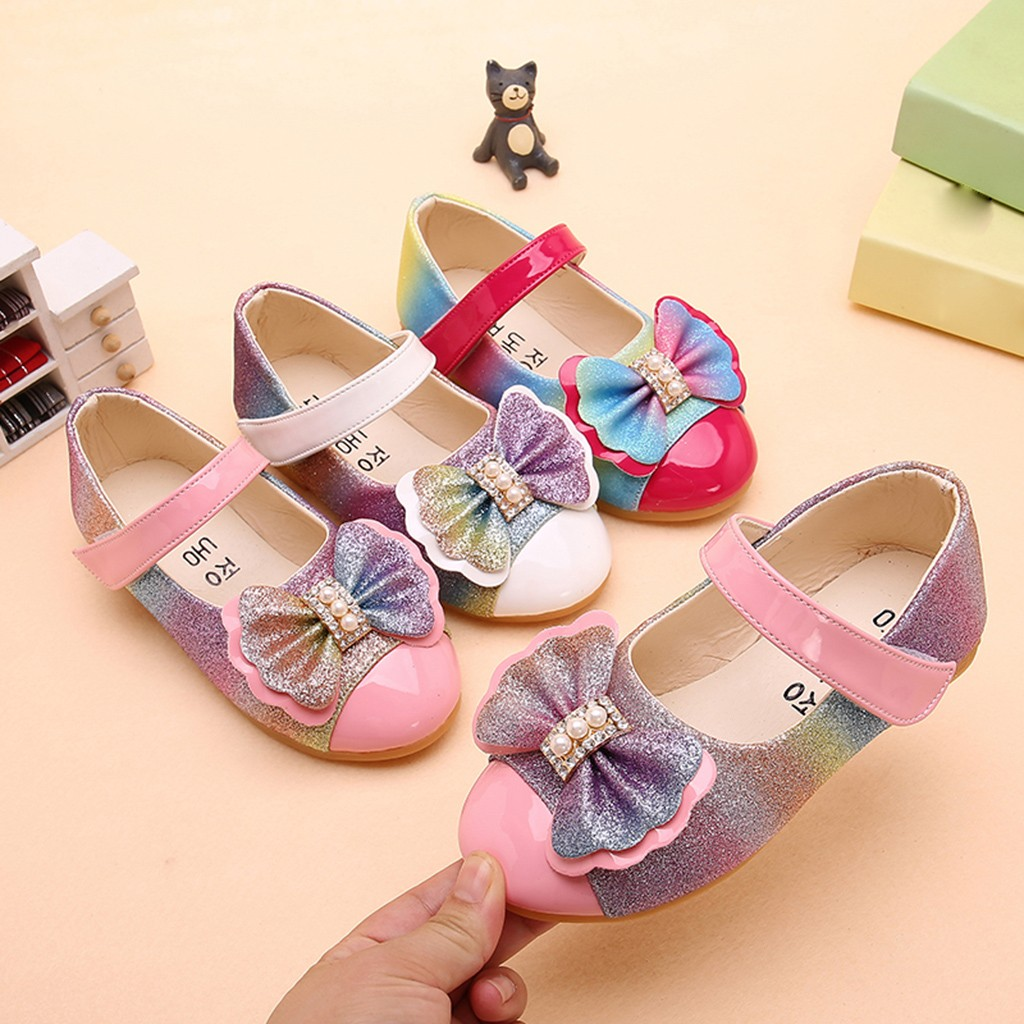 Children Kids Baby Girls Pearl Bowknot Bling Single Princess Casual Shoes Children Casual Shoes  Children's Shoes