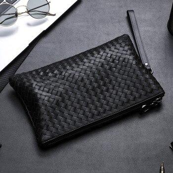 Woven Men's Handbag Leather Man's Hand Soft Leather Envelope Business Youth Envelope Shape Grab