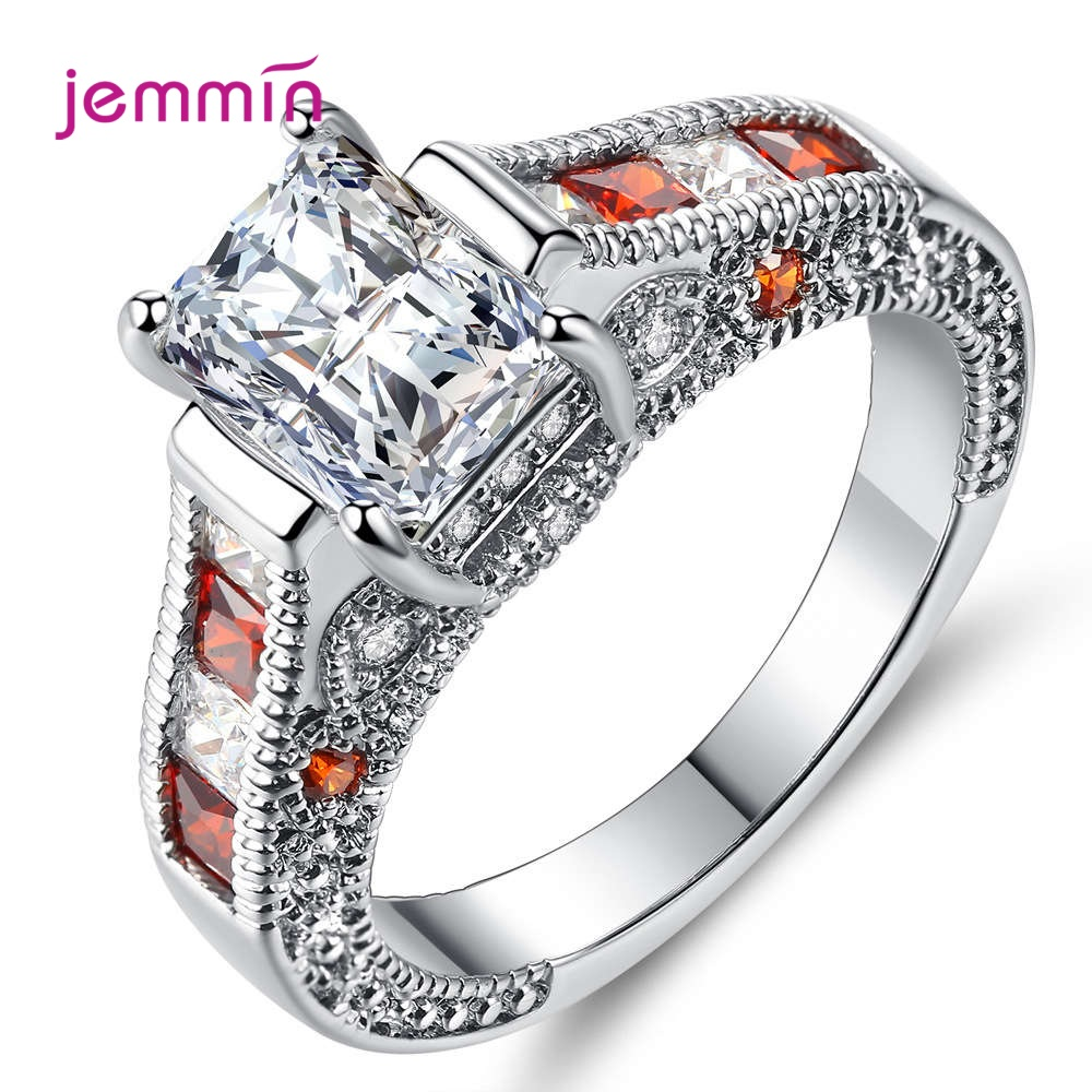Free Shipping 925 Sterling Silver Wedding Rings For Women Girls Shint Red Crystals Paved Statement Finger Rings Wholesale