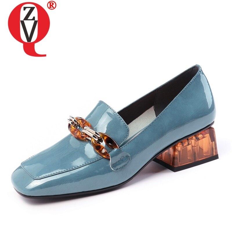 ZVQ automne nouvelle mode femmes pompes à l'extérieur bout carré en cuir véritable mi talons sans lacet femmes chaussures livraison directe taille 33-42