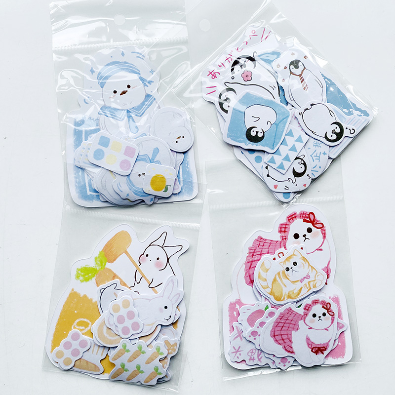45PCS/Pack Kawaii Cat Rabbit Penguin Snow Finch Washi Stickers Kid Gift Hand Account Notebook Decorative Sticker Stick Label
