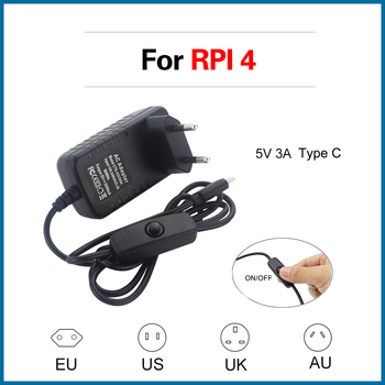 цена на S ROBOT Power Adapter On/OFF Switch Power Supply Type C EU US UK AU Plug Power Charger for Raspberry Pi 4 Model B RPI114