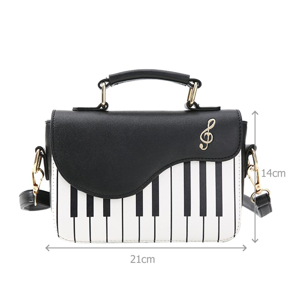 Cute Piano Pattern Fashion PU Leather Casual Ladies Handbag Shoulder Bag Crossbody Messenger Bag Pouch Totes Women's Flap bolsas