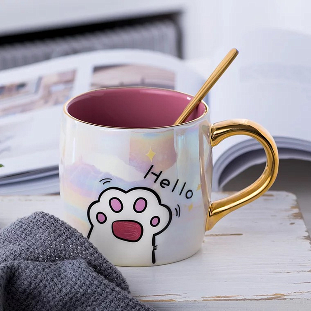 Cartoon Ceramics Cat Mug With Lid and Spoon Coffee Milk Mugs Cute Creative Breakfast Cup Valentine's Day Wedding Birthday Gift