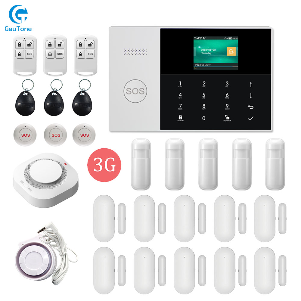 DHL Free Shipping WIFI+3G GPRS Wireless Home/Office Building/Factory Fireproof&Burglar Security Alarm System APP Remote Control