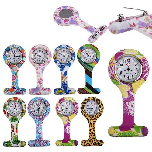 Women Nurses Pocket Watch Fashion Patterned Silicone Nurses Brooch Tunic Fob Pocket Watch Quartz Stainless Dial Doctor Med