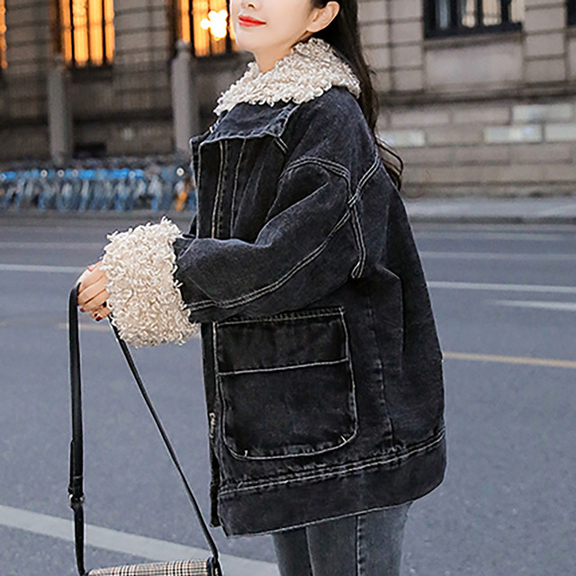 Jacket Women 2020 Black Women's Winter Loose Plus Velvet Wool Roll Tooling Thick Denim Jacket Coat Jacket Ladies Korea Пуховик 3