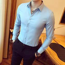 New 2020 solid color lapel loose fashion men's long sleeve shirt em8  autumn shirt W093-02-05