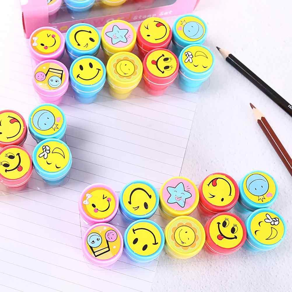 Sello plástico de expresión de cara de sonrisa de dibujos animados para niños de 10 piezas LeadingStar