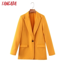 Tangada women orange suit blazer female long sleeve elegant