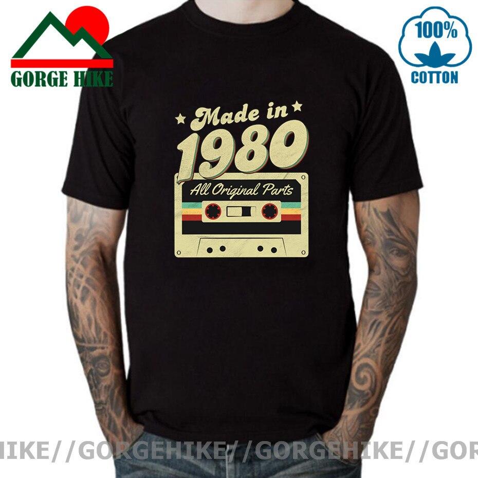 Мужская сделано в 1980 футболка 40th на день рождения 40 лет Ретро 80 футболка юбилей, хлопковый топ с коротким рукавом Футболка с уникальным диза...