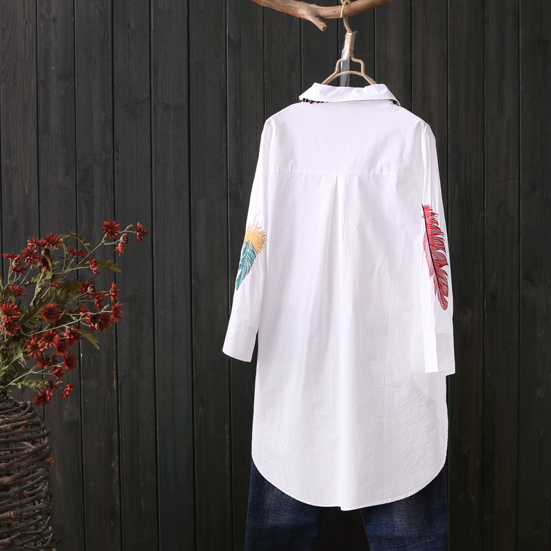 Long Blouse Tops Button-Down-Shirts Embroidery Office-Work Loose White Plus-Size Women