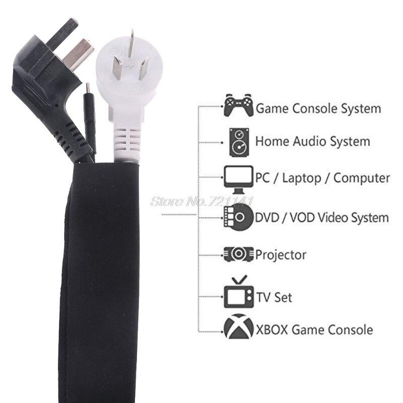 2Pc Flexible Cable Sleeve Wrap Cover Organizer Cable Management Sleeve Cord Management System For TV / Computer 50cm Dropship