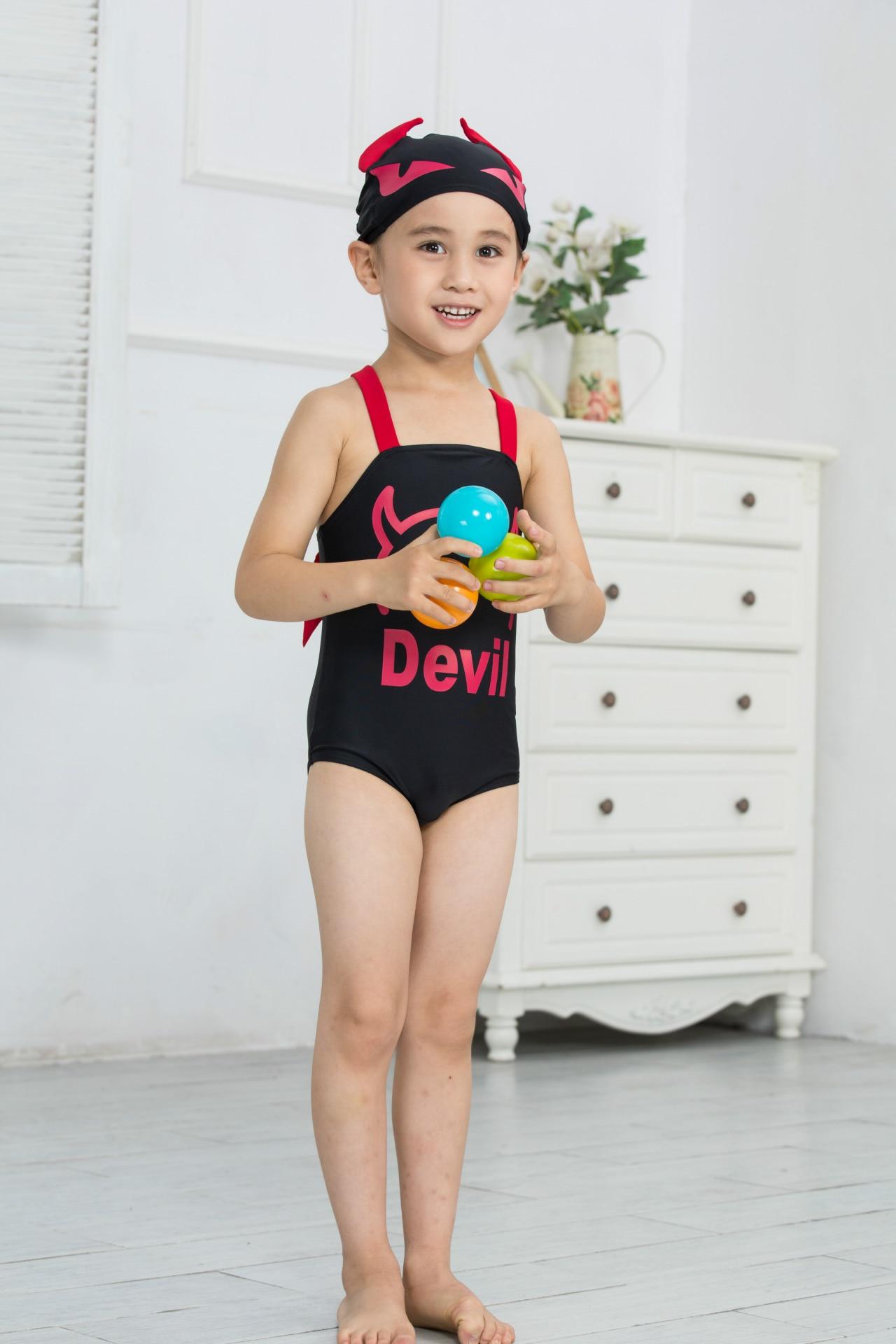 KID'S Swimwear New Style Demon Boys' Cotton One-piece Swimsuit Modeling Swimwear KID'S Swimwear + Swim Cap