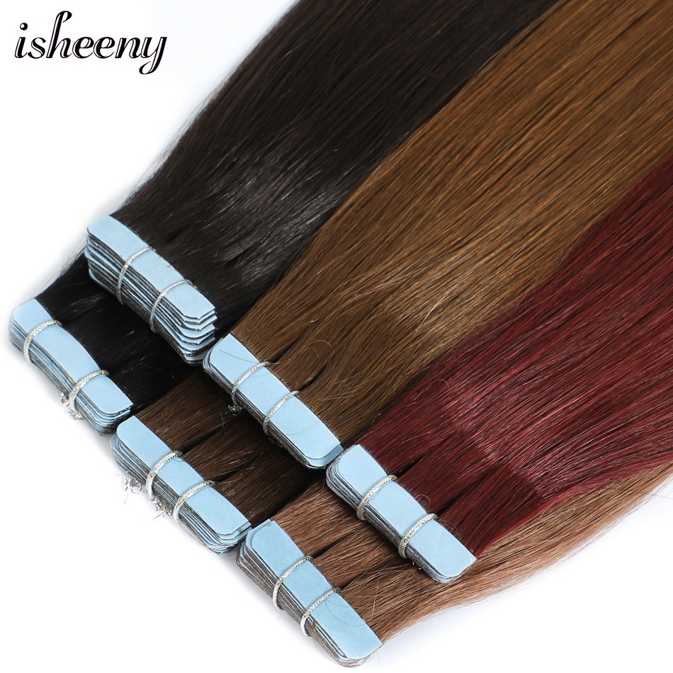Isheeny Hair 18 Inches Remy Tape In Human Hair Extensions Black Brown Blond Straight European Tape In Hair Extension Salon Style