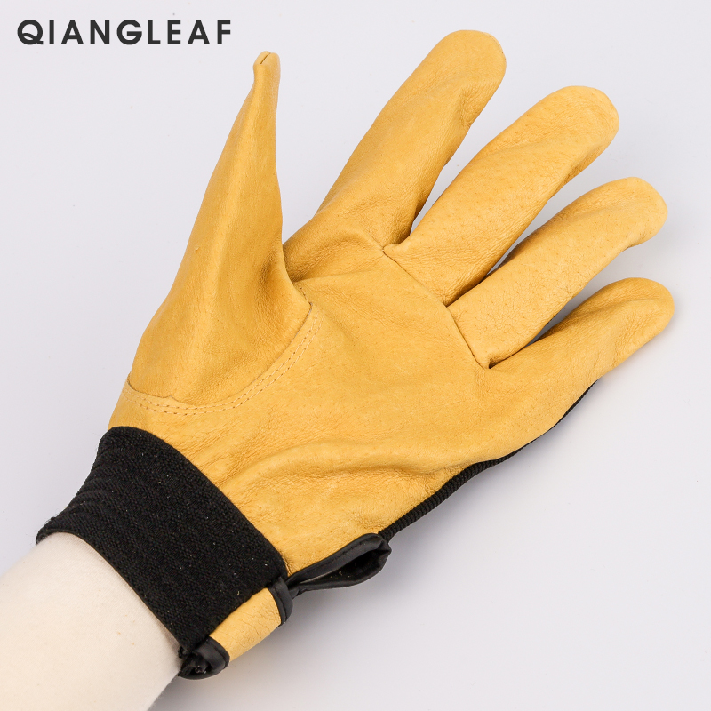 Image 3 - QIANGLEAF Brand New Protection Safety Glove Cowhide men yellow Leather Driver Security Protection Racing Moto Work Gloves 508NP-in Safety Gloves from Security & Protection