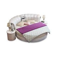 Hakiki deri çok fonksiyonlu masaj yatağı çerçeve İskandinav camas ultimate yatak yuvarlak yatak LED ışık Bluetooth hoparlör güvenli depolama