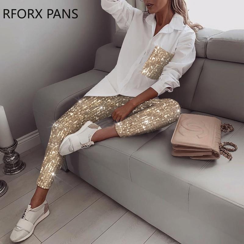 Sequin Long Sleeve Top & Pant Sets 2 Piece Set Women